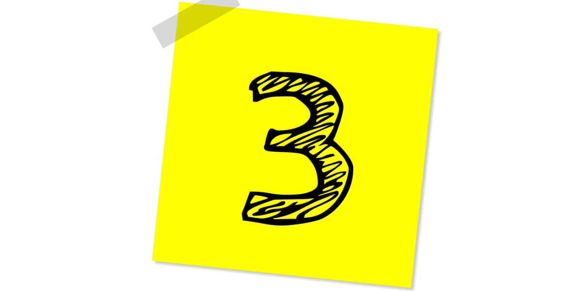 yellow post it note with a 3 on it - from Find a Business Coach - Three Elements of a Good Coaching Experience by Truby Achievements