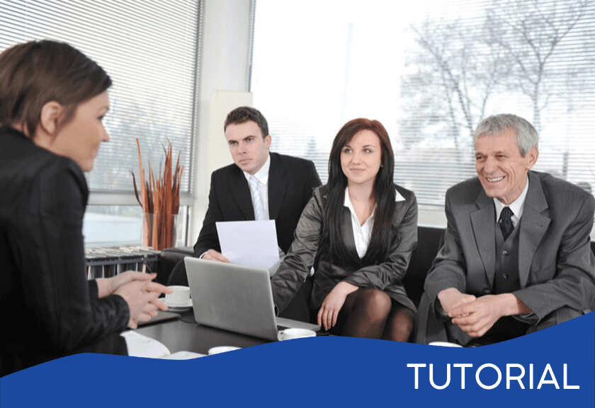 three business people interviewing a woman - featured image for the Hiring Right tutorial from Truby Achievements