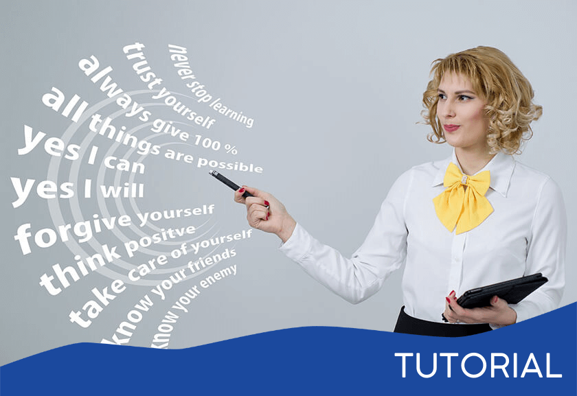 woman pointing to words in the air related to mindset - featured image for the Mind Shifts tutorial from Truby Achievements