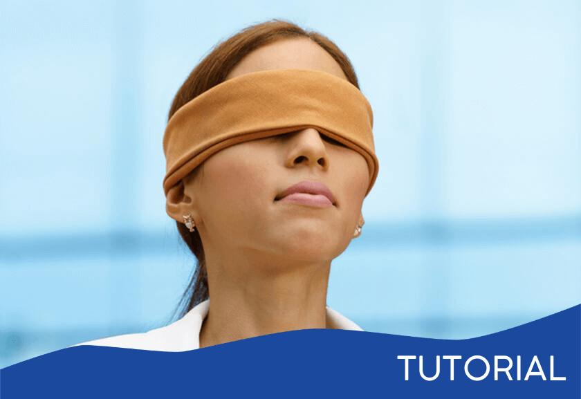 woman blindfolded - featured image for the Finding Blind Spots tutorial from Truby Achievements