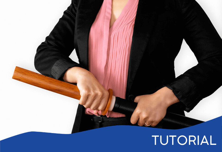 business woman pulling a katana - featured image for the Problem Slayer tutorial from Truby Achievements