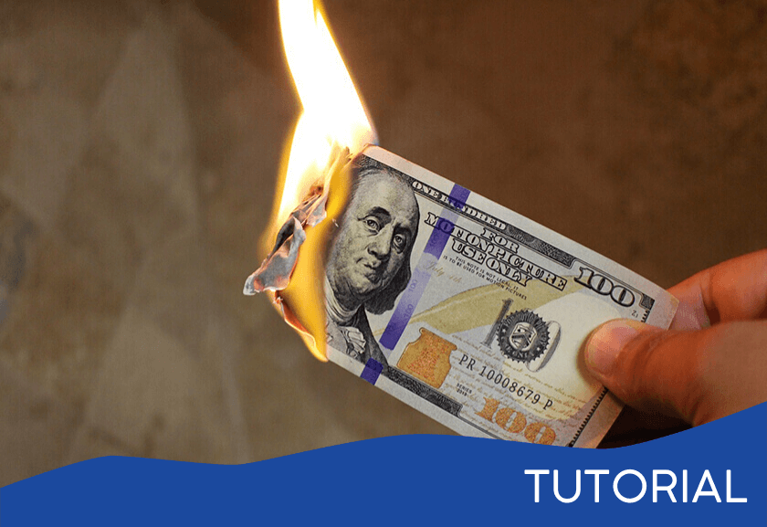 hundred dollar bill on fire - featured image for the Three Costs of Waste tutorial from Truby Achievements