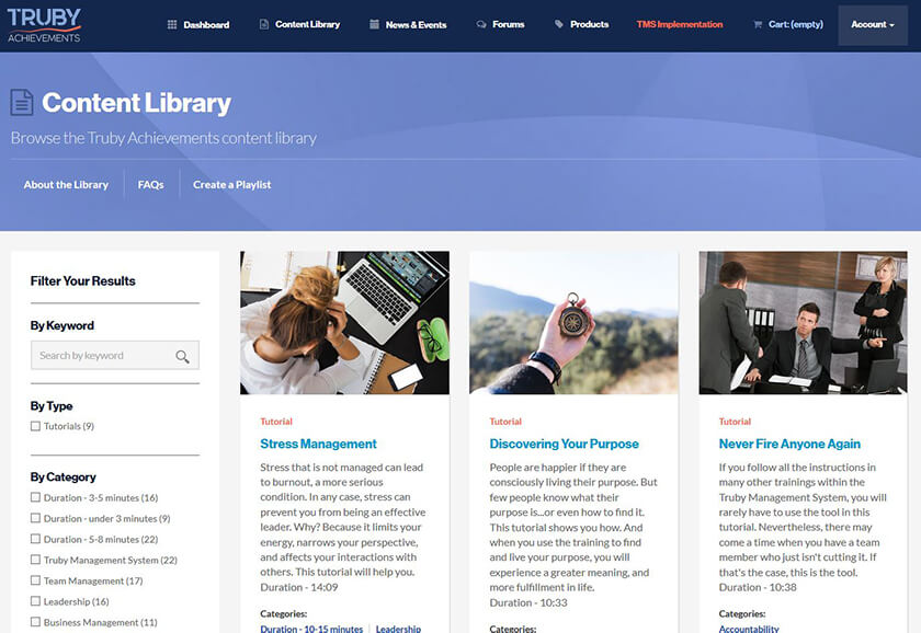 screenshot of the content library for a walkthrough video on the Truby Achievement Membership (training and resources for business owners to help grow your business, build a high-performing team, and be a confident leader)