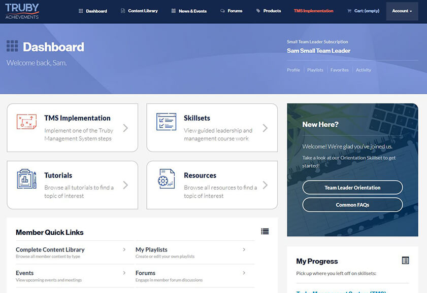 screenshot of the dashboard for the team dashboard walkthrough video on the Truby Achievement Membership (training and resources for business owners to help grow your business, build a high-performing team, and be a confident leader)