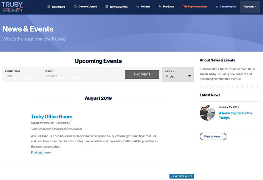 screenshot of the news & events for a walkthrough video on the Truby Achievement Membership (training and resources for business owners to help grow your business, build a high-performing team, and be a confident leader)