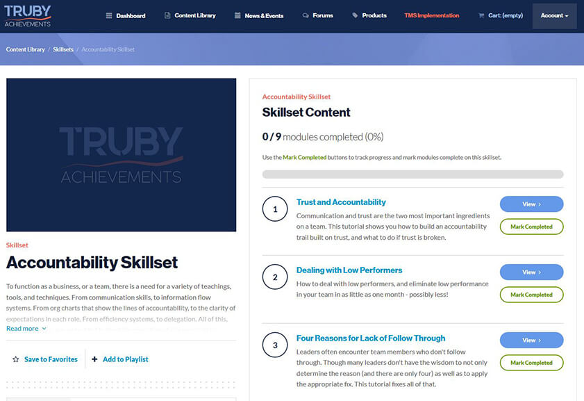 screenshot of the skillset feature for a walkthrough video on the Truby Achievement Membership (training and resources for business owners to help grow your business, build a high-performing team, and be a confident leader)