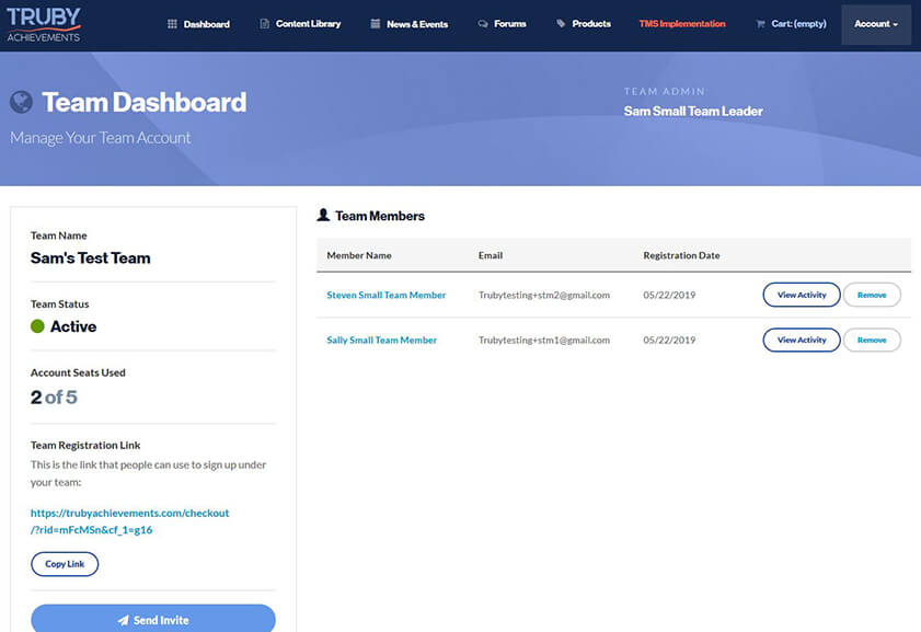 screenshot of the team dashboard for a walkthrough video on the Truby Achievement Membership (training and resources for business owners to help grow your business, build a high-performing team, and be a confident leader)
