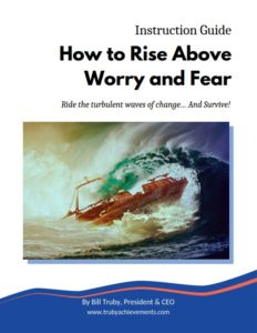 cover photo with a boat in a storm for the instruction guide for how to rise above worry and fear - focused on dealing with change