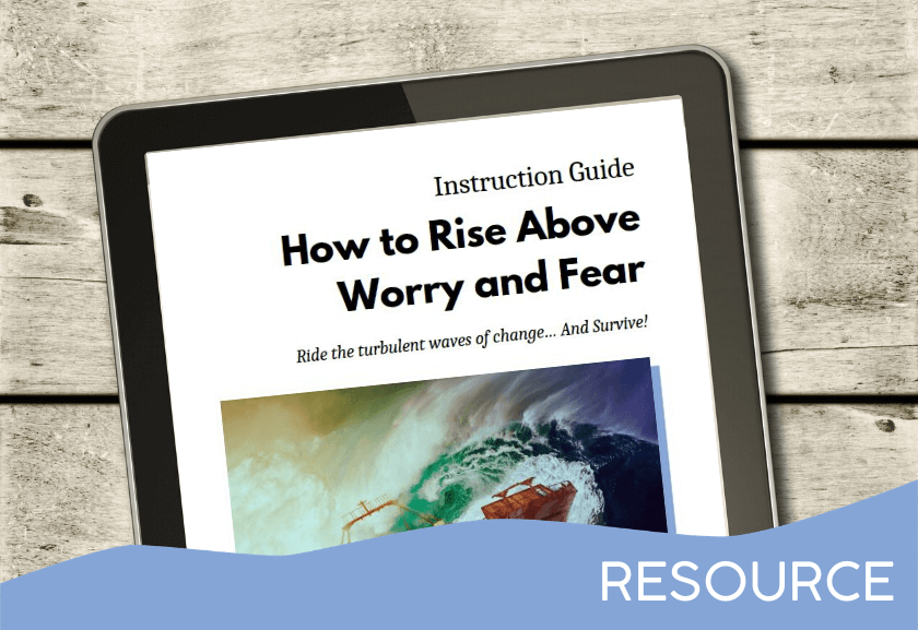 tablet showing ebook - featured image for Instruction Guide - Rise Above Worry and Fear - From Truby Achievements
