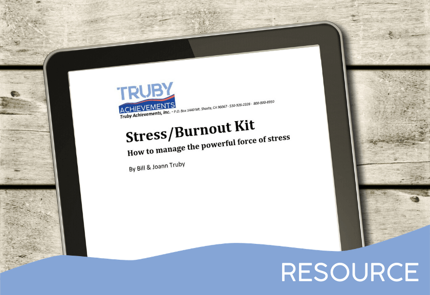 tablet mockup for the stress and burnout kit from truby achievements - leading provider of leadership training