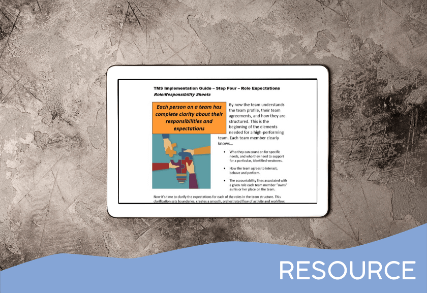 mockup on tablet of the implementation guide for TMS step 4, role and responsibility - from truby achievements, leading provider of leadership training