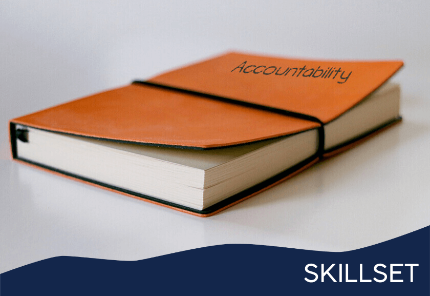 notebook with accountability on the cover - featured image for accountability training skillset from truby achievements