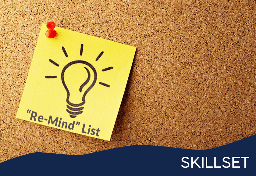 a yellow sticky note saying re-mind list on a corkboard - featured image for re-mind list skillset from truby achievements