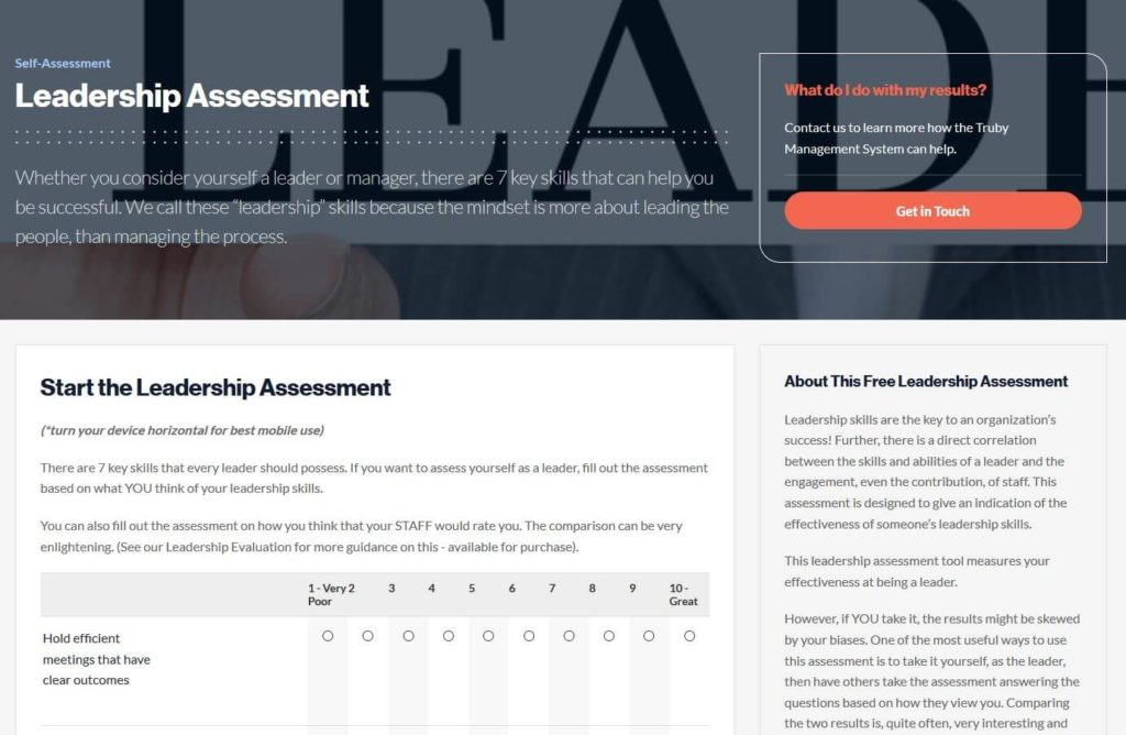 screenshot of the leadership assessment on the Truby achievements website - image for the Truby achievements blog article 7 key leadership skills