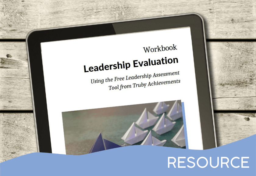 images of the workbook for leadership evaluation on a tablet mockup - by truby acheivements, leading provider of leadership development