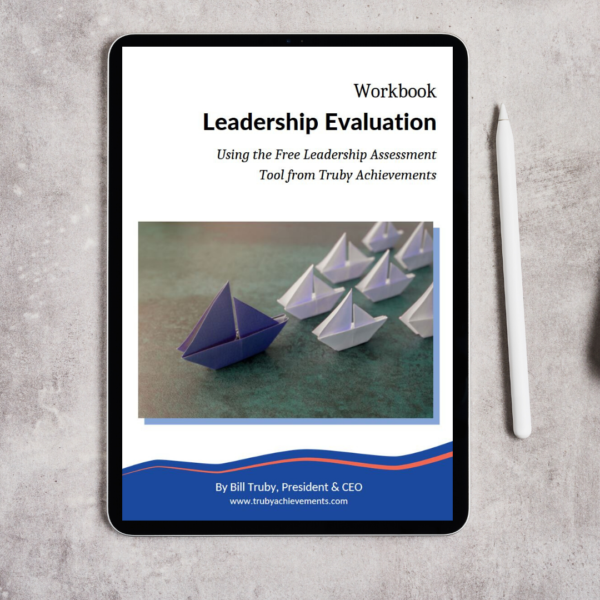 tablet mockup showing the digital download product - leadership evaluation workbook by Truby Achievements