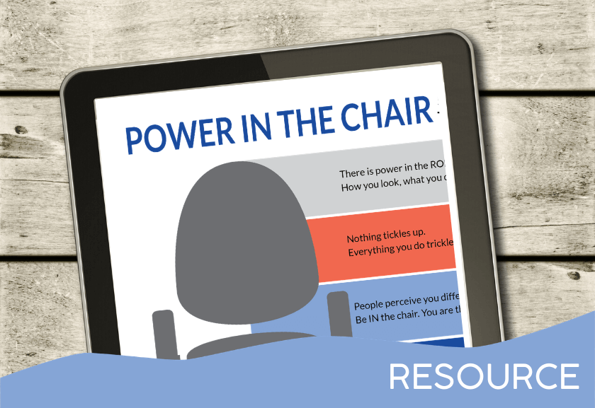 image of the power in the chair infographic on a tablet - for truby achievements, hidden power of leadership