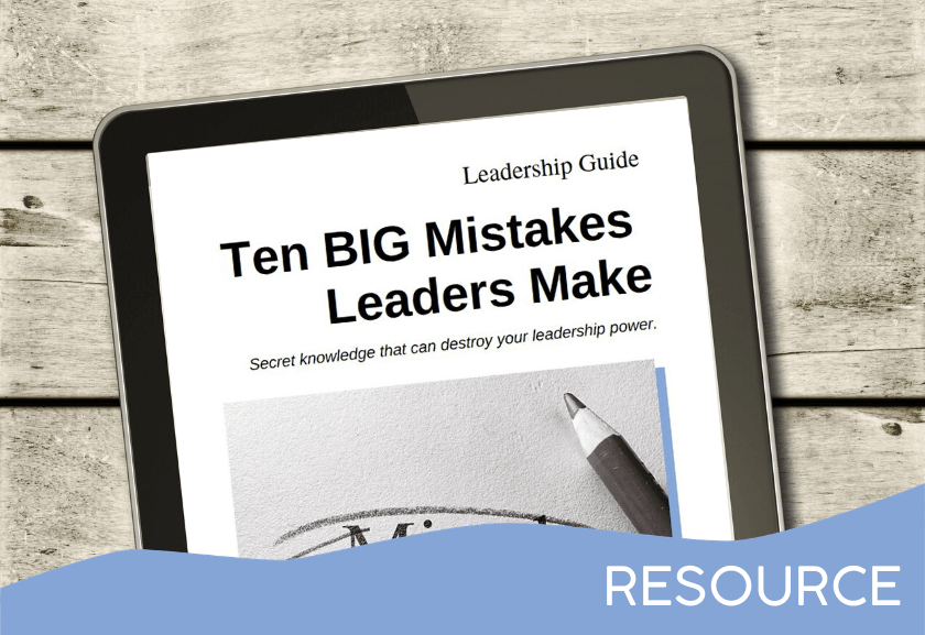tablet sitting on a wood table showing leadership guide - 10 BIG Mistakes Leaders Make - a resource on the Truby Achievements membership site