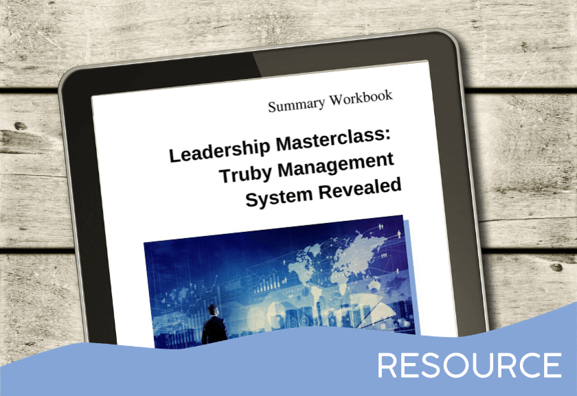 tablet showing the workbook for the TMS Revealed leadership masterclass - a resource from the Truby Achievements membership site