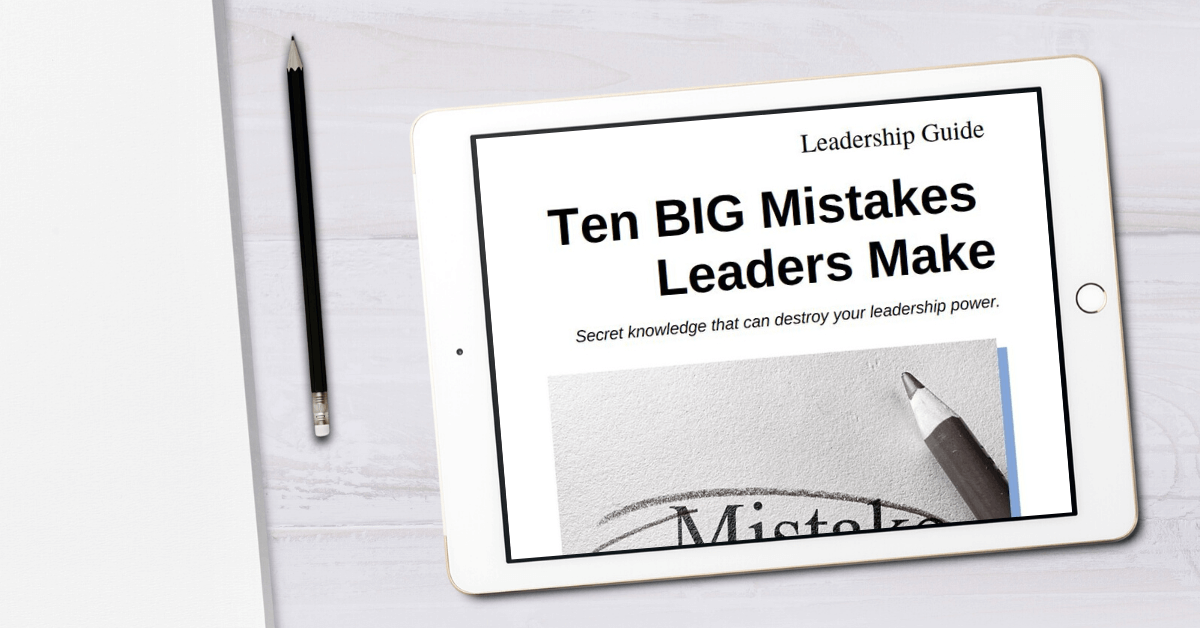 tablet showing the leadership guide - 10 mistakes leaders make - for the free leadership resources page on truby achievements