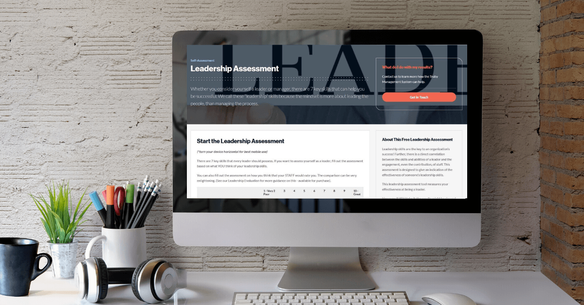 desktop showing the leadership assessment - for the free leadership resources page on truby achievements