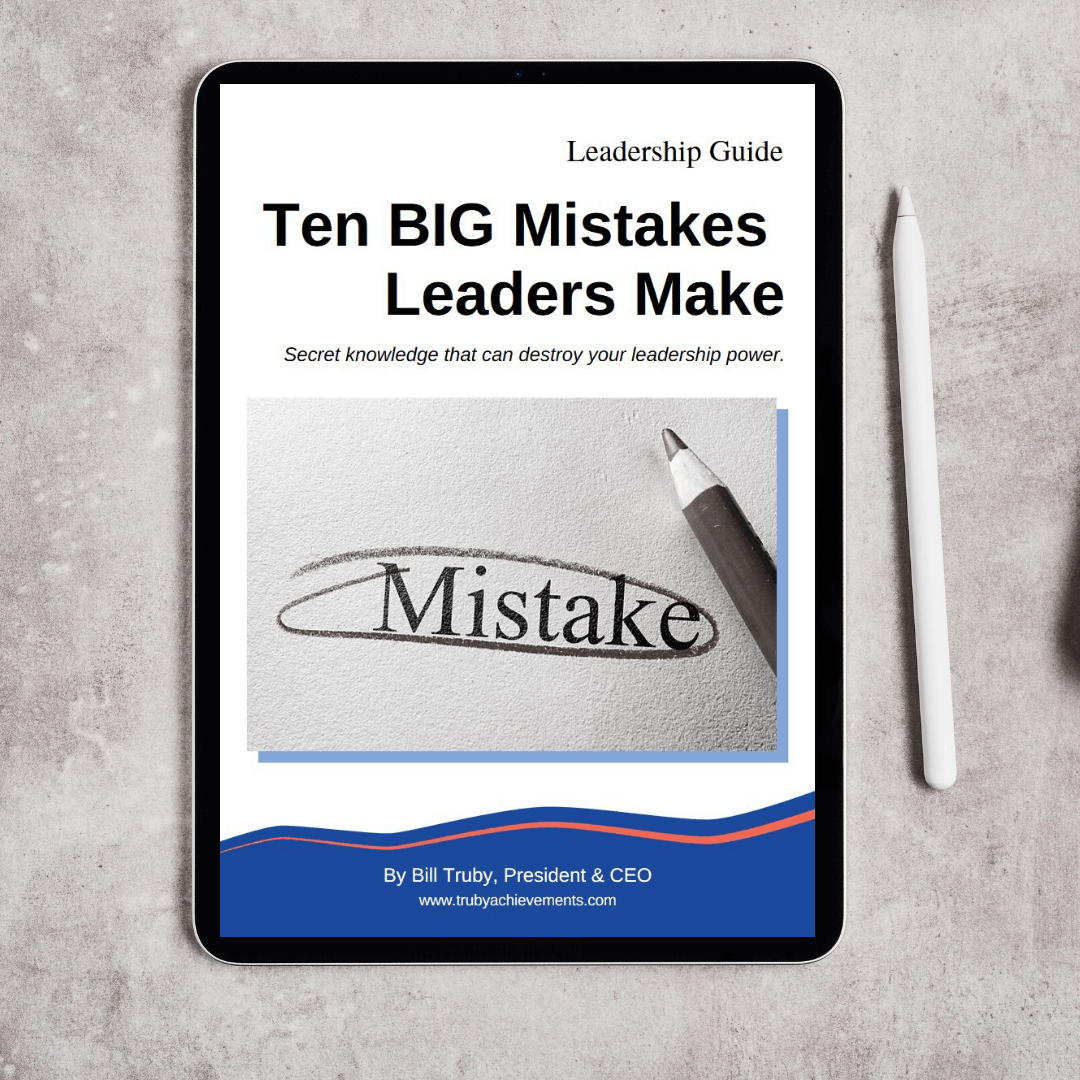 tablet mockup showing the digital download product - leadership guide - top ten big mistakes leaders make by Truby Achievements