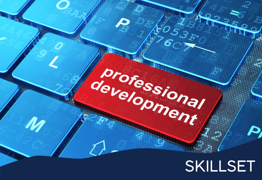 blue computer keyboard with red professional development button - featured image from professional development skillset from truby achievements
