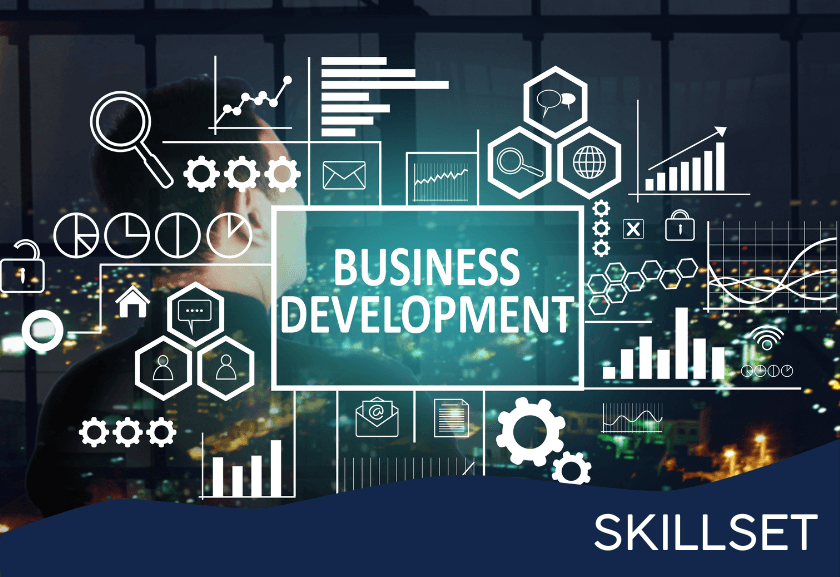 business development writing surrounded by cogs and graphics on a digital screen - featured image for business development training skillet from Truby Achievement membership