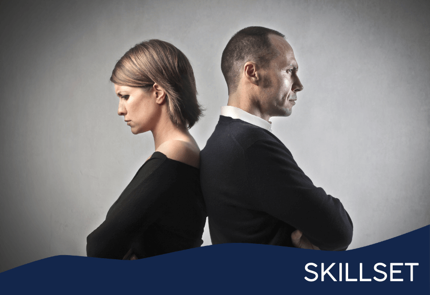 man and woman standing back to back in conflict - featured image for eliminate difficulties training from Truby Achievements membership