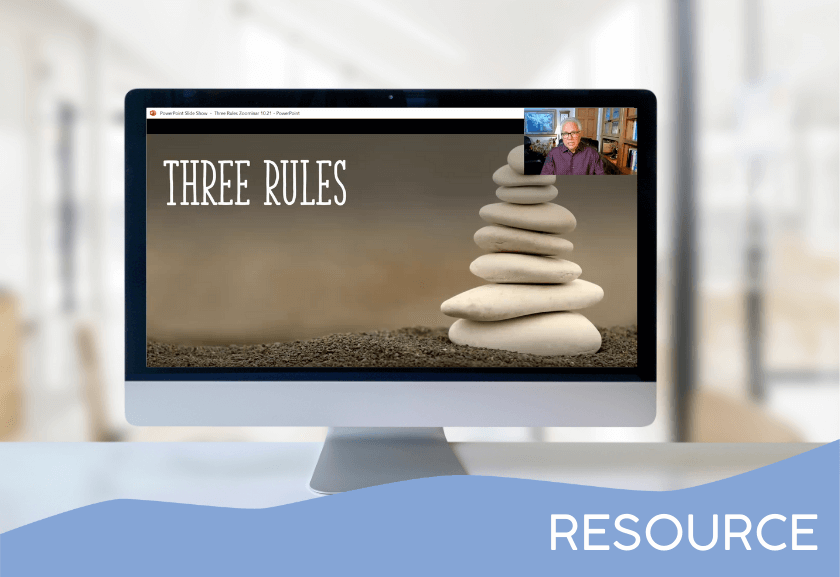 desktop mockup with slide image from training - 3 rules that will change your staff instantly - zoominar from truby achievements, inc.
